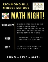Math Night is Thursday, October 12th