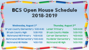 2018-2019 Open House Schedule
