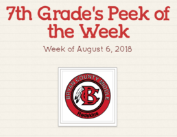 7th  Grade's Peek of the Week