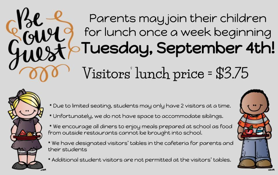 MES Lunch Visitors - Begin 9/4