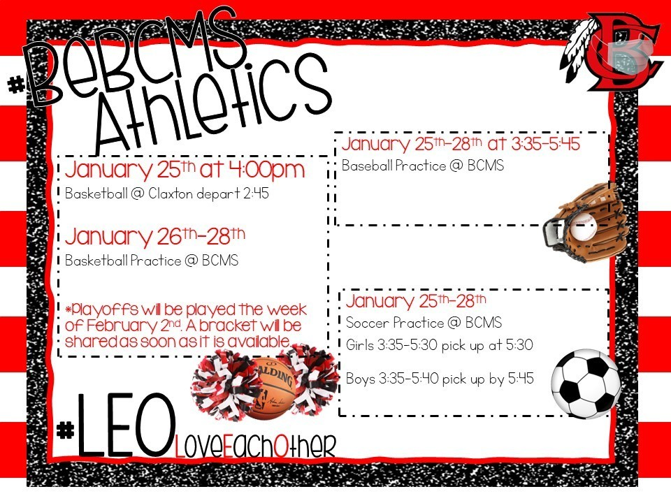 Upcoming Athletic Events - Week of Jan. 25