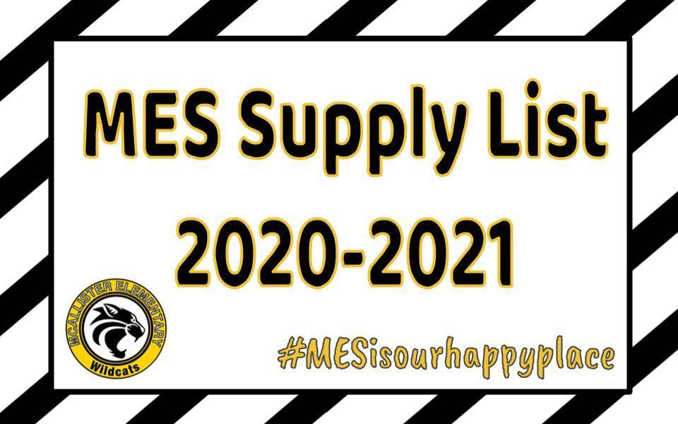 MES Supply List 2020-2021
