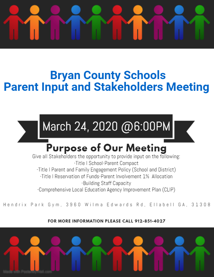 Parent Input and Stakeholders Meeting - has been cancelled