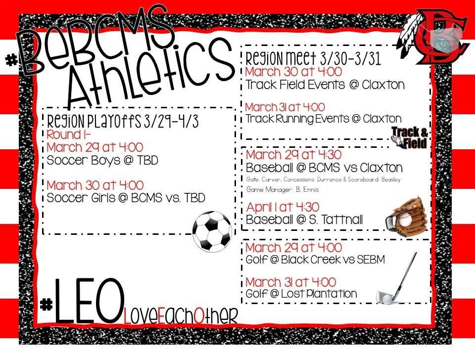 Upcoming Athletic Events - Week of March 29
