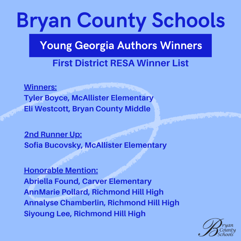 2020 FDRESA Young Georgia Authors Winners