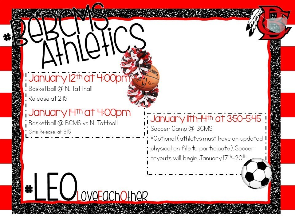 Upcoming Athletic Events - Week of Jan 11
