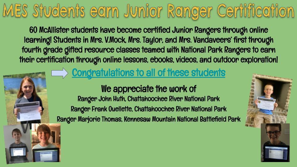 MES Students Earn Junior Ranger Certification