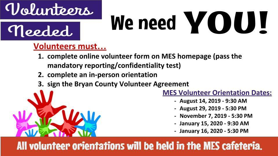 Volunteer Orientation at MES-Jan. 15th