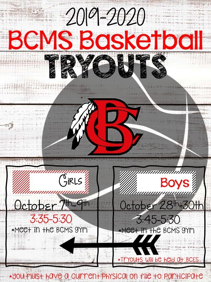 19-20 BCMS Basketball Tryouts