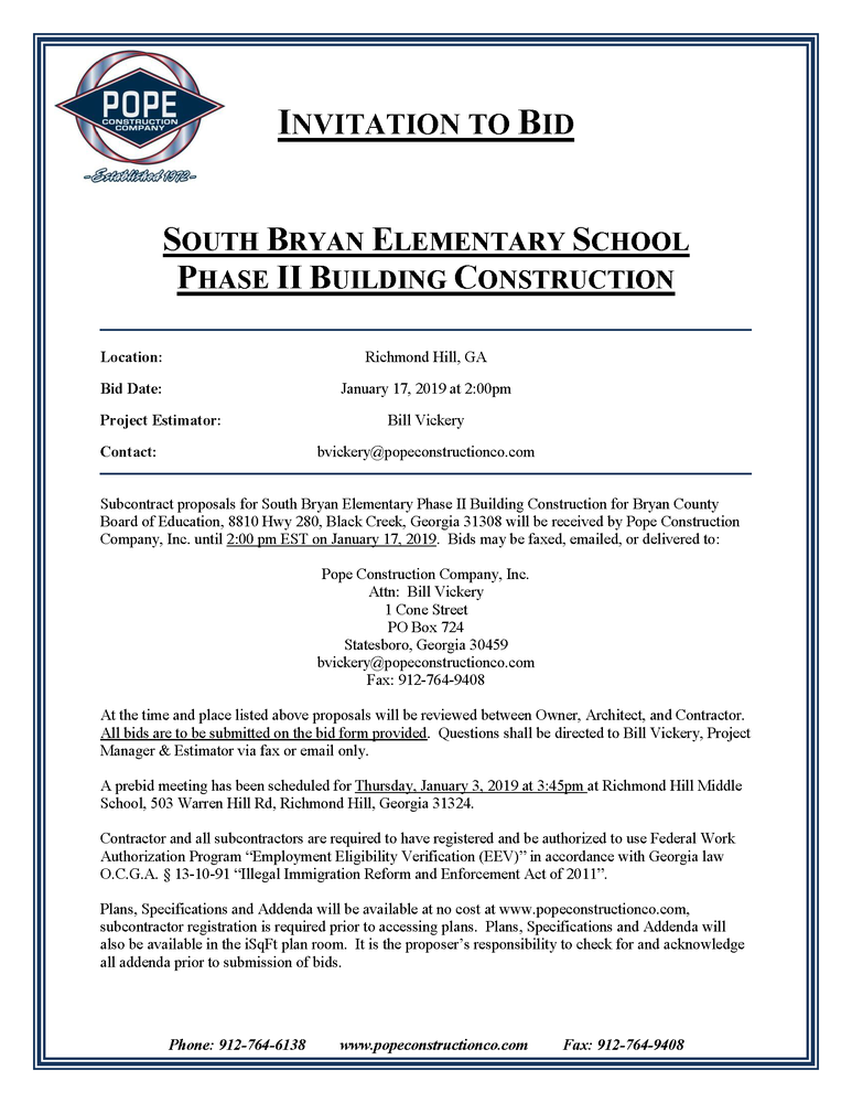 South Bryan Elementary School Phase 2 Invitation to Bid