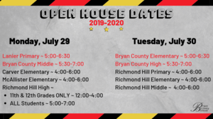 Open House Dates 2019-2020
