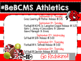 #BeBCMS Athletics 9/10-9/14