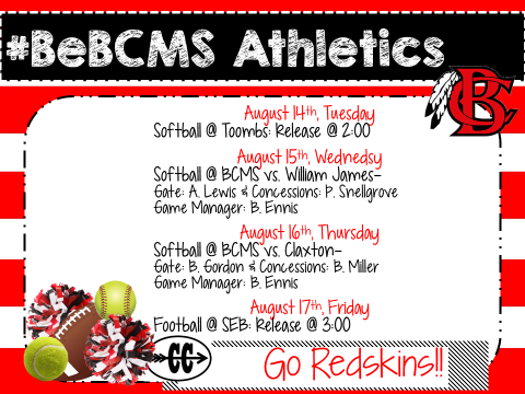 Athletics Week of August 13th #BeBCMS
