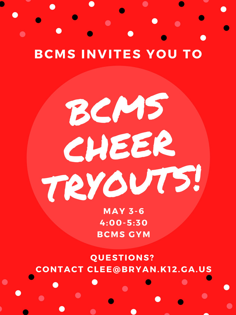 BCMS Cheer Tryouts - May 3-6 - 4:00-5:30 in the BCMS Gym