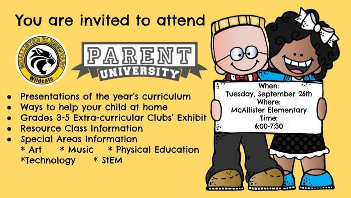 Hurricane Irma may have changed our original plans, but we will still host Parent University! Parent University will take place on September 26, 2017 (6-7:30pm). We look forward to ALL of our McAllister families joining in on this engaging opportunity. #MESrocks