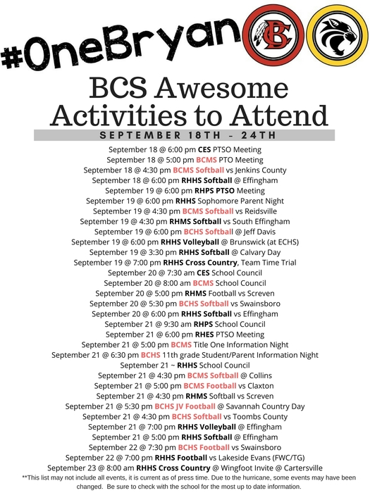 Awesome Activities 9-18-17