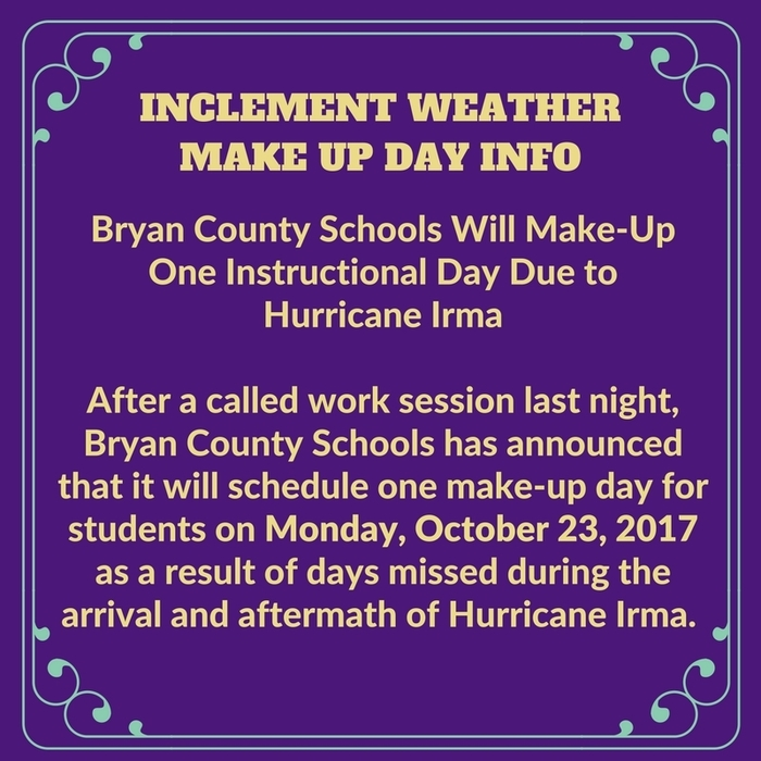 Weather Make Up Day Information