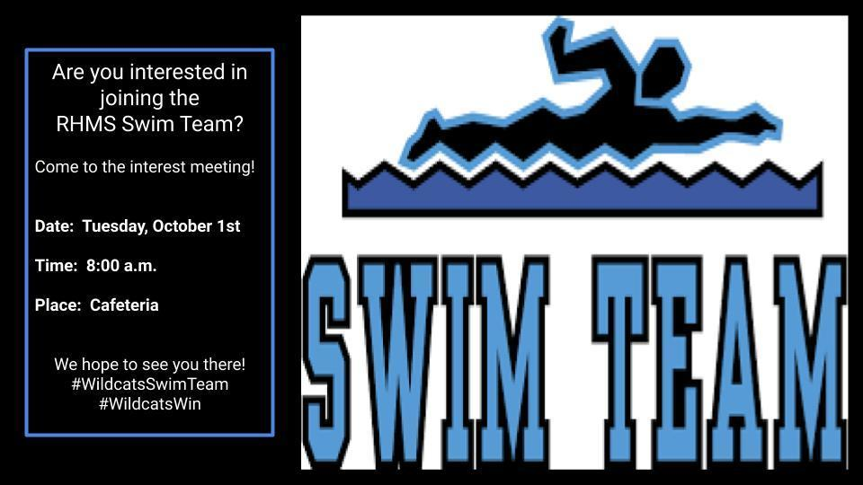 Swim Team Interest Meeting is Tuesday, October 1st