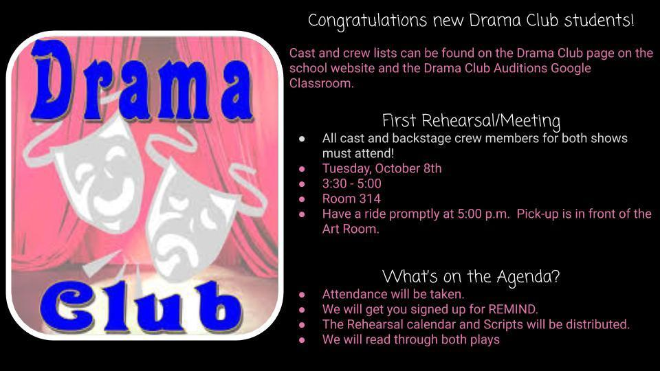 First Drama Club meeting