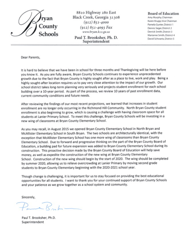 Letter regarding new addition to Bryan County Elementary School.