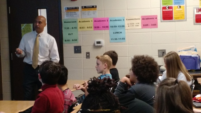 Attorney DeJesus visiting Ms. Rushing's classes