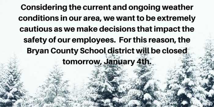 Winter Closure Announcement 1-4