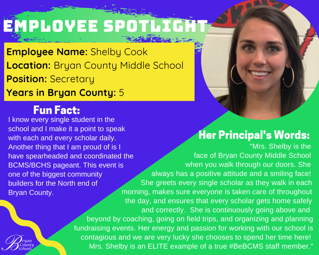 BCMS Employee Spotlight - Shelby Cook