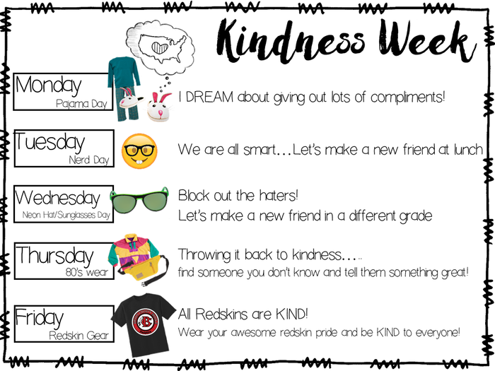 #BeBCMS is ExExExCited for Kindness Week 2018! Get ready! Each day is a spirit day aligned with a performace task! #AreYouReadyForIt